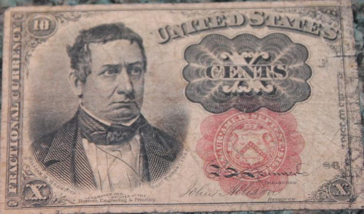 1874/1875 Ten Cent Fractional Currency Meredith Green Seal