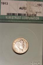 Lot 7: 1913 Barber Or Liberty Head Dime NTC Rated AU-53