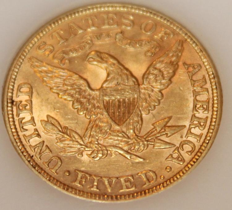 Lot 9: 1892 Gold Half Eagle Five Dollar Coin AU-50 Or Better