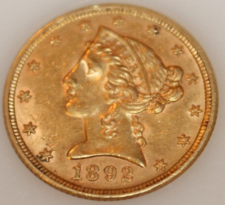 1892 Gold Half Eagle Five Dollar Coin AU-50 Or Better