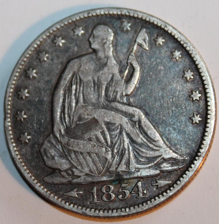1854 Seated Liberty Variety 3 Half Dollar Coin EF-40