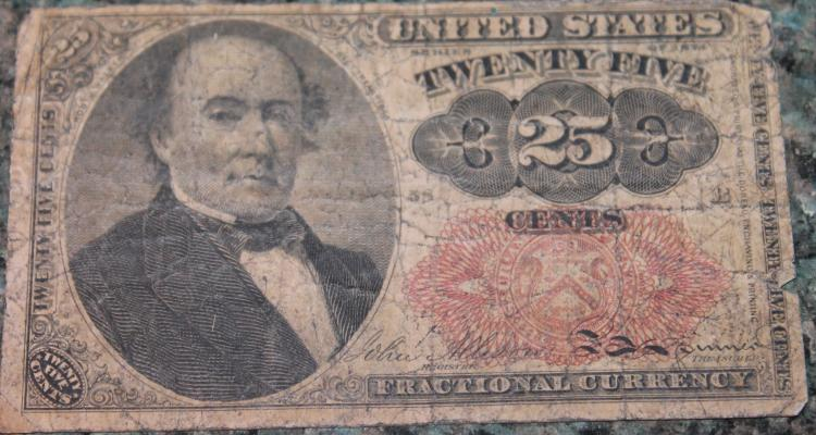 1874 Fractional Currency Twenty Five Cent Walker Note Fine