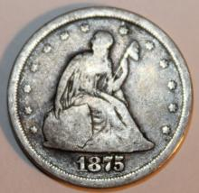 Lot 14: 1875-S Seated Liberty Twenty Five Cent Piece G-4