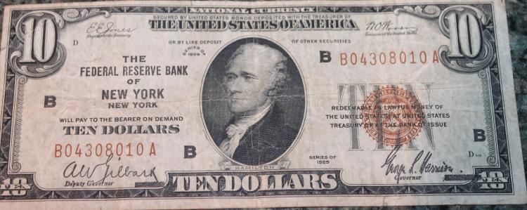 1929 Type 2 Jones Woods Ten Dollar national Currency New York Bill Very Good