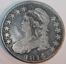 Lot 16: 1814 Capped Bust Half Dollar Coin VF-20 Or Better