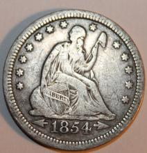 Lot 17: 1854 Seated Liberty Quarter Dollar Coin F-12 Or Better
