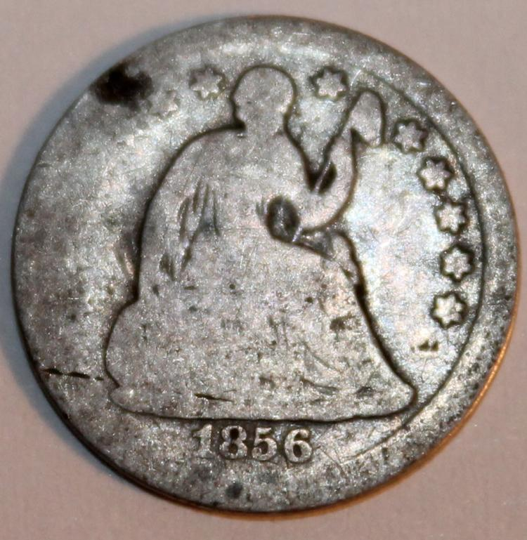 Lot 23: 1856 Seated Liberty Half Dime Coin G-4 Or Better