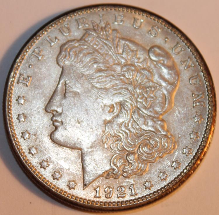 1921-S Morgan Silver Dollar Coin AU-50 Or Better