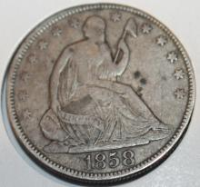 Lot 27: 1858 Liberty Seated Half Dollar Silver Coin F-12 Or Better