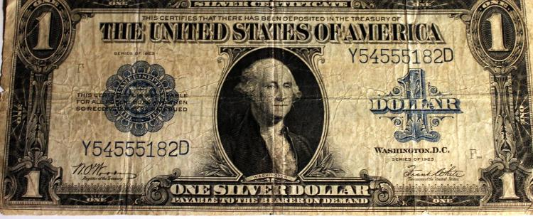 1923 Woods White Silver Certificate Large Dollar Bill Fine