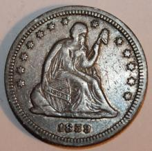 Lot 29: 1859 Liberty Seated Quarter Dollar Coin F-12 Or Better