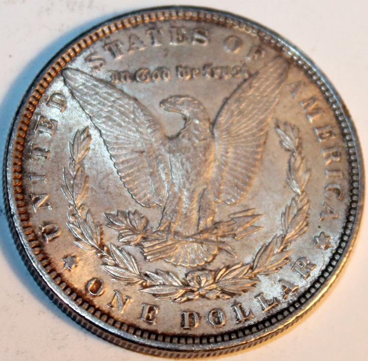 Lot 31: 1889 Morgan Silver Dollar Coin AU-50 Or Better