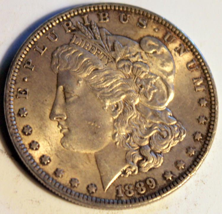 1889 Morgan Silver Dollar Coin AU-50 Or Better
