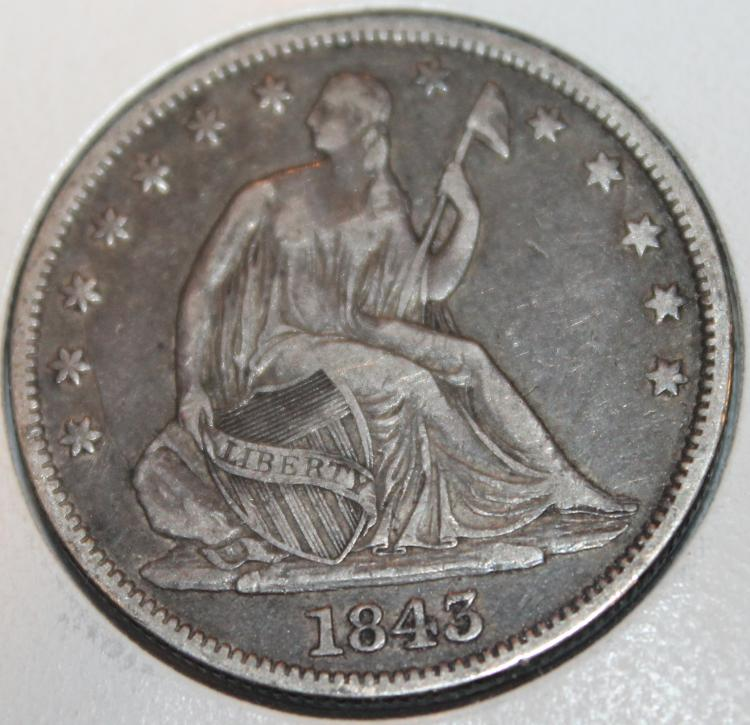 1843 Liberty Seated Half Dollar Silver Coin EF-40 Or Better