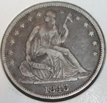 Lot 33: 1843 Liberty Seated Half Dollar Silver Coin EF-40 Or Better