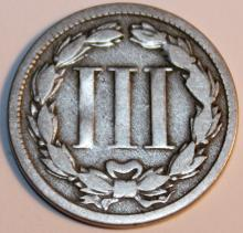 Lot 34: 1868 3 Nickel Three Cent Piece Coin VF-20 Or Better