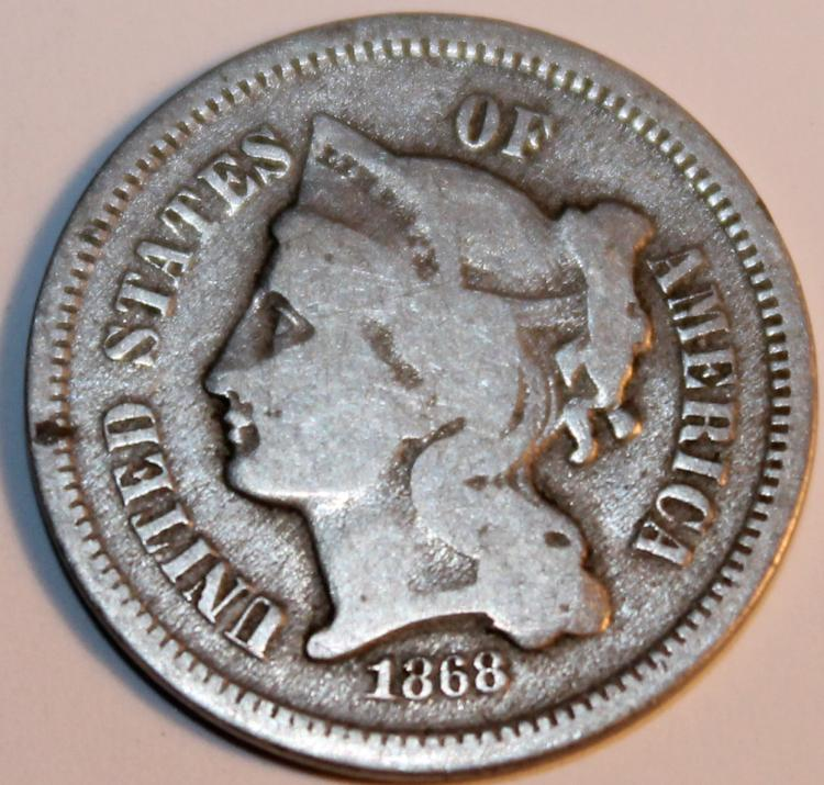 1868 3 Nickel Three Cent Piece Coin VF-20 Or Better