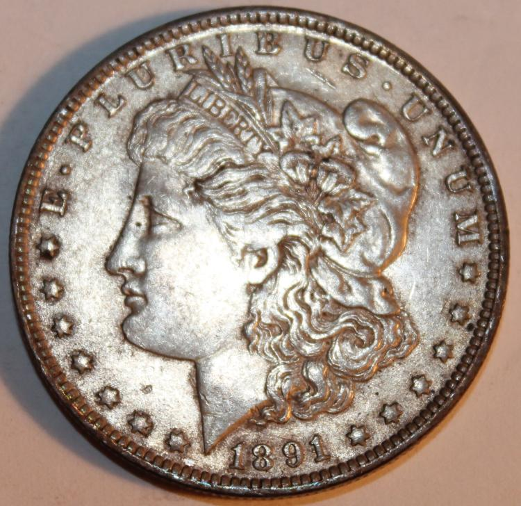 1891-O Morgan Silver Dollar Coin AU-50 Or Better