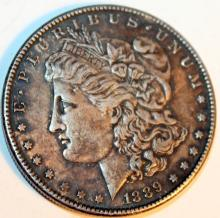 Lot 37: 1889 Morgan Silver Dollar Coin AU-50 Or Better