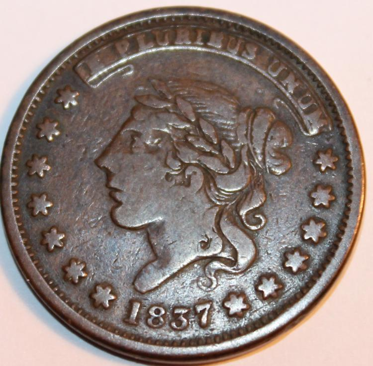 1837 Matron Head Modified Large Cent F-12 Or Better