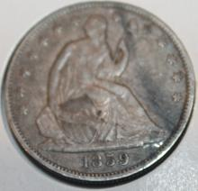 Lot 39: 1859 Liberty Seated Half Dollar Silver Coin VF-20 Or Better