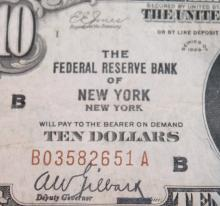 Lot 41: 1929 Type 2 Jones Woods Ten Dollar national Currency New York Bill Very Good