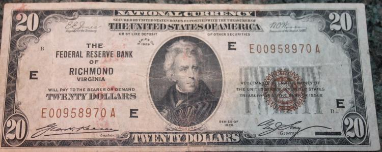 1929 Type 1 Jones Woods Twenty Dollar Richmond Virginia National Currency Bill VG