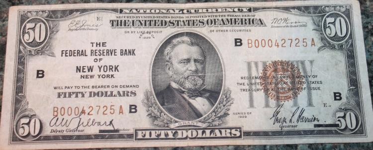 1929 Type 2 Jones Woods Fifty Dollar New York National Currency Bill VG