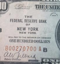 Lot 44: 1929 Type 1 Jones Woods One Hundred Dollar New York National Currency Bill VF