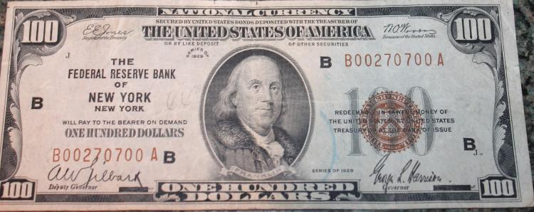 1929 Type 1 Jones Woods One Hundred Dollar New York National Currency Bill VF