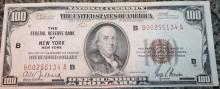 Lot 45: 1929 Type 1 Jones Woods One Hundred Dollar New York National Currency Bill VF