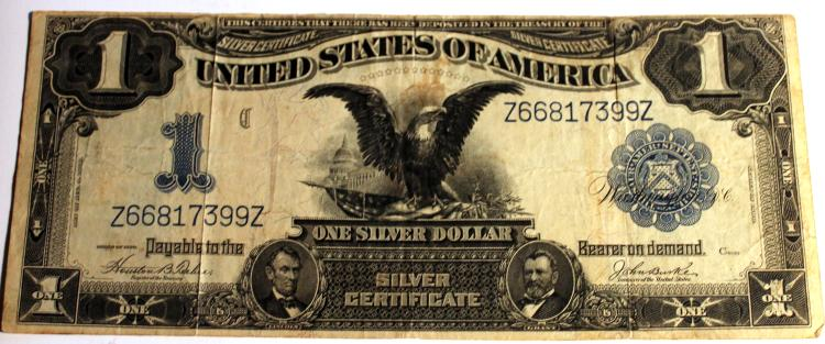 1899 Teehee Burke One Dollar Silver Certificate Fine Condition Or Better
