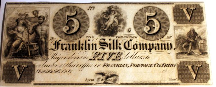 1800's The Franklin Silk Company Ohio Company 5 Dollar Bearer Note