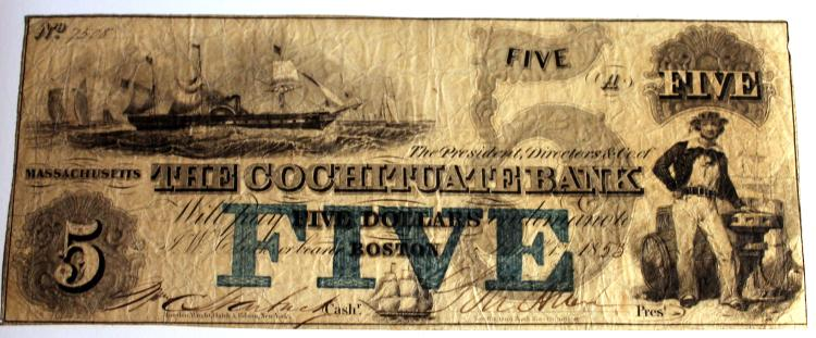 1853 The Cochituate Bank Of Boston Massachusetts 5 Dollar Bearer Note