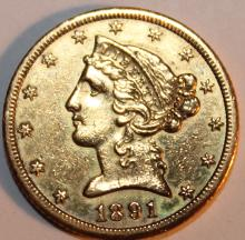 Lot 51: 1891-CC Five Dollar Half Eagle Five Dollar Gold Coin EF-40 Or Better