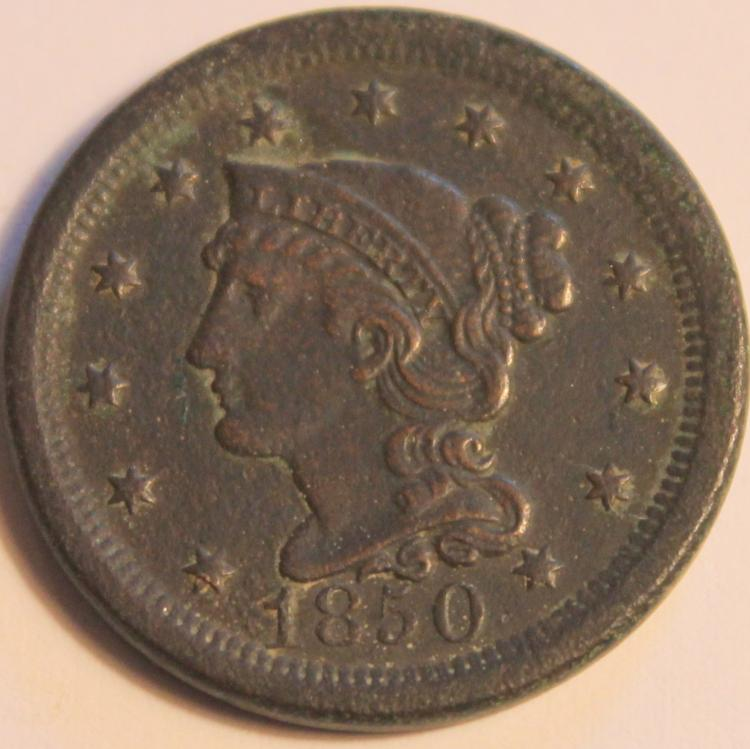 1850 Matron Head Large Cent VF-20 Or Better