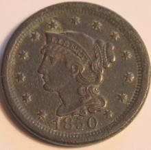 Lot 52: 1850 Matron Head Large Cent VF-20 Or Better