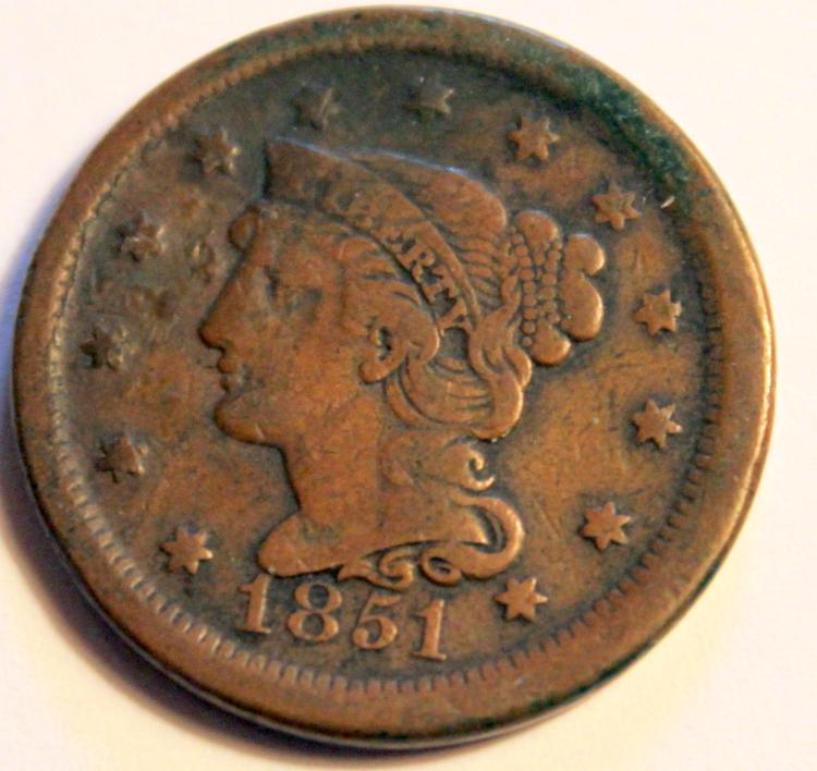 1851 Matron Head Large Cent VF-20 Or Better