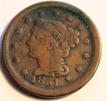 Lot 53: 1851 Matron Head Large Cent VF-20 Or Better