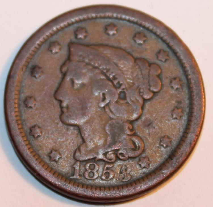 1854 Over 3 Matron Head Large Cent F-12 Or Better