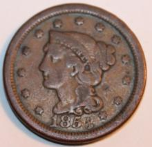 Lot 54: 1854 Over 3 Matron Head Large Cent F-12 Or Better
