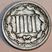 Lot 55: 1868 Nickel Three Cent Piece Coin VF-20 Or Better