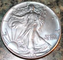 Lot 56: 1986 One Ounce Silver American Eagle Liberty Coin Uncirculated With Bluing