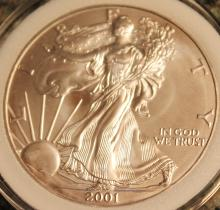 Lot 57: 2001-W One Ounce Silver American Eagle Liberty Coin Uncirculated