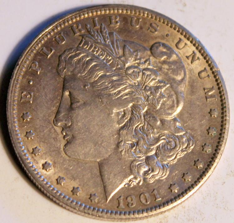 1901-S Morgan Silver Dollar Coin AU-50 Or Better
