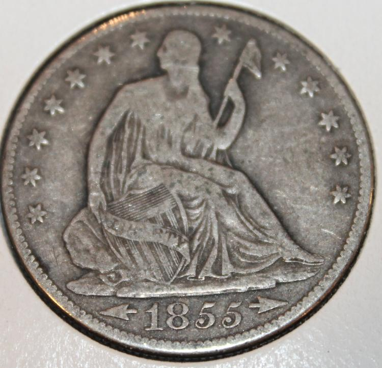 1855-O Liberty Seated Half Dollar Silver Coin F-12 Or Better