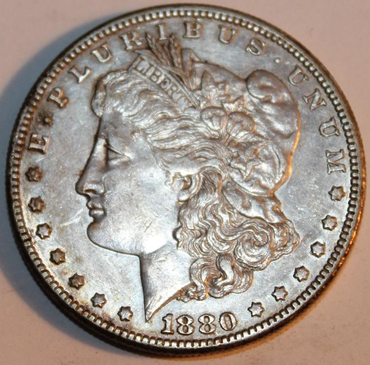 1880-S Morgan Silver Dollar Coin AU-50 Or Better