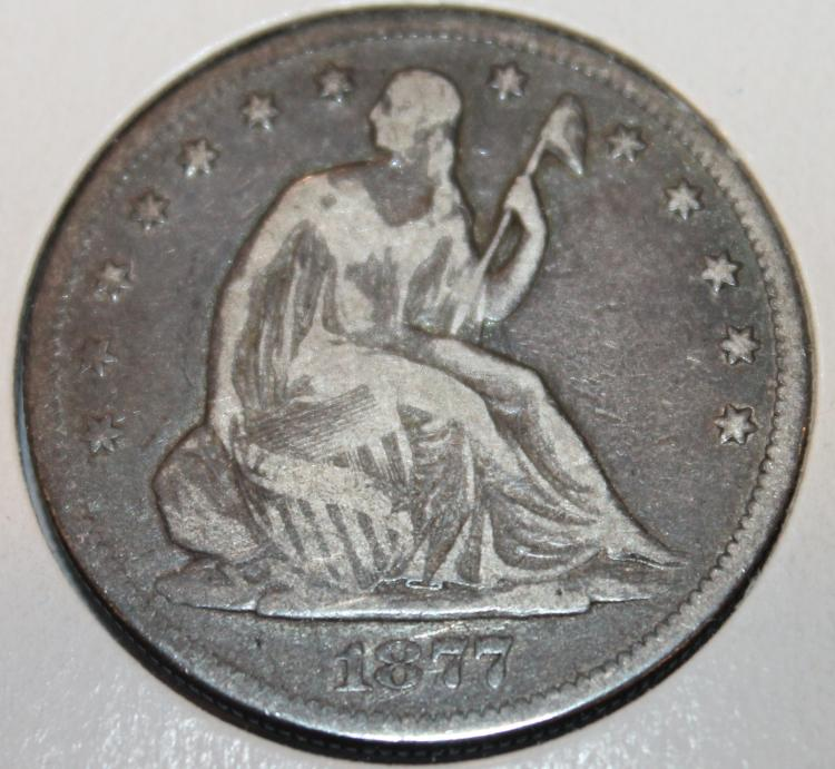1877-S Liberty Seated Silver Half Dollar Coin VG-8 Or Better