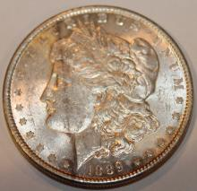 Lot 65: 1889 Morgan Silver Dollar Coin AU-50 Or Better