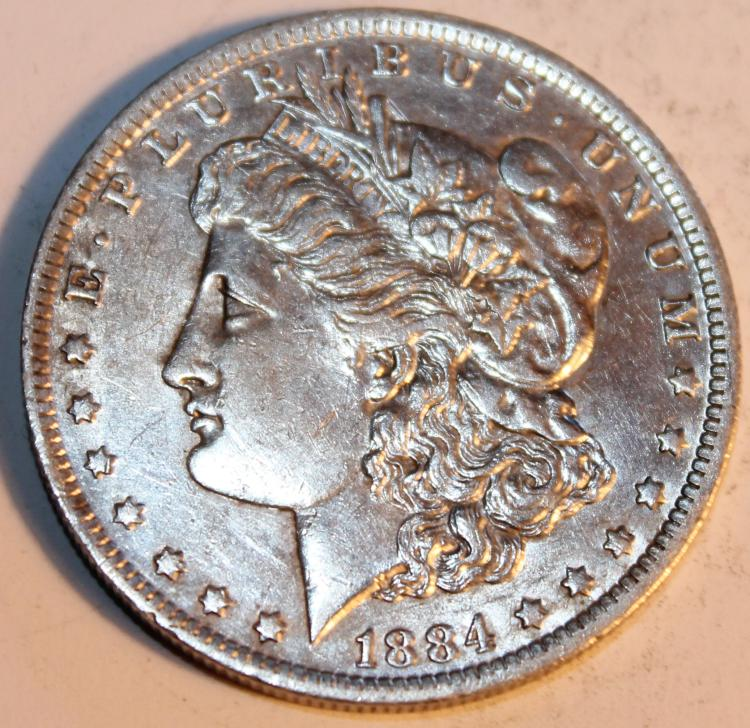 1884-O Morgan Silver Dollar Coin AU-50 Or Better